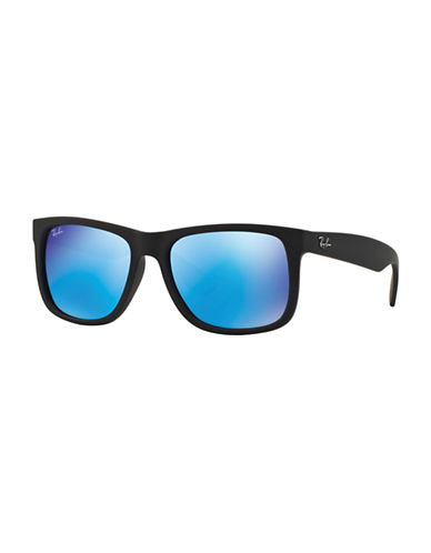 Ray-Ban Justin 54mm Rectangle Sunglasses-RUBBER BLACK/BLUE MIRRORED LENSES (622/55)-55 mm
