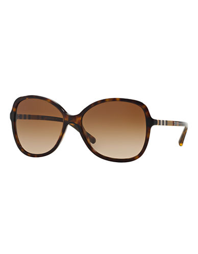 Burberry Check Block 56mm Butterfly Sunglasses-HAVANA-One Size