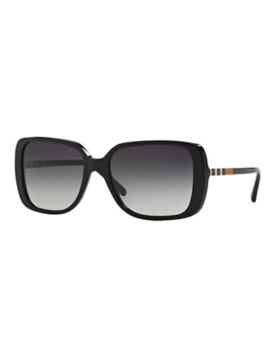 Burberry Check Block 57mm Square Sunglasses-BLACK-One Size