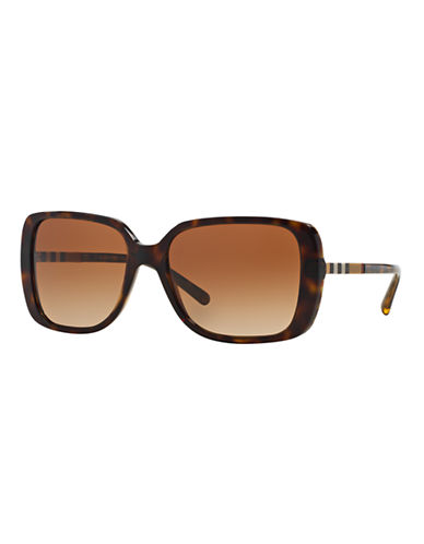 Burberry Check Block 57mm Square Sunglasses-HAVANA-One Size