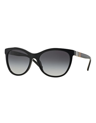 Burberry Striped Check 58mm Round Sunglasses-BLACK-One Size