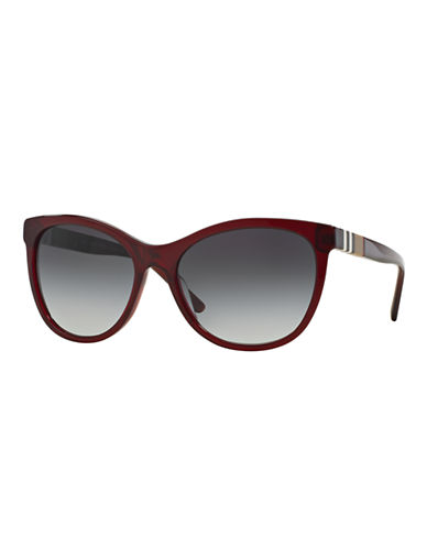 Burberry Striped Check 58mm Round Sunglasses-RED-One Size