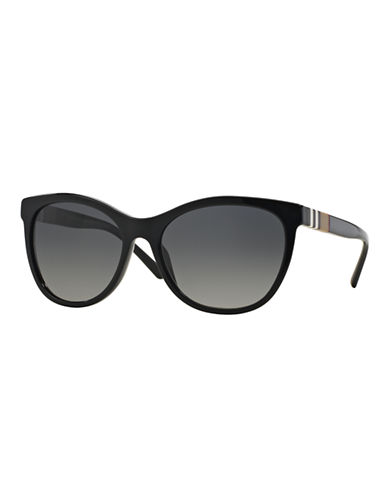 Burberry Striped Check 58mm Round Sunglasses-BLACK (POLARIZED)-One Size
