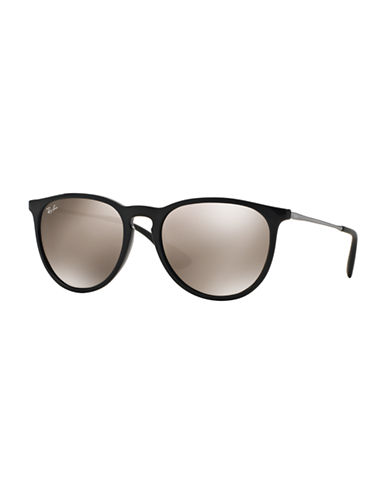 Ray-Ban Erika Round Sunglasses-BLACK/SILVER-54 mm