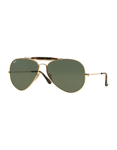 Ray-Ban Outdoorsman II 62mm Aviator Sunglasses-GOLD/DARK GREEN (181)-62 mm