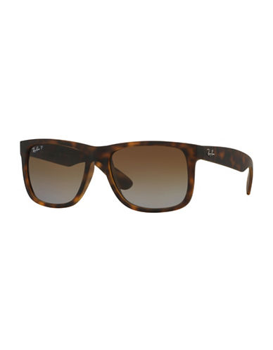 Ray-Ban Justin 54mm Rectangle Sunglasses-MATTE HAVANA (865T5) (POLARIZED)-55 mm