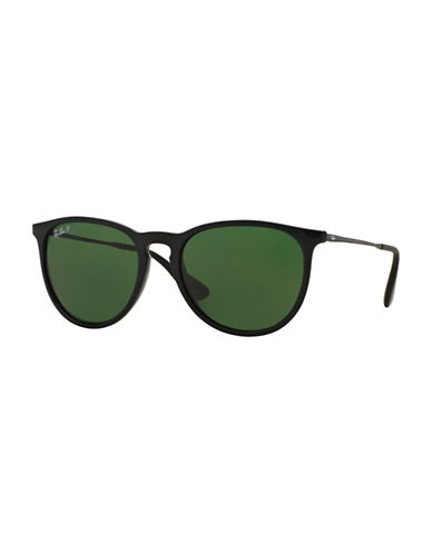 Ray-Ban Erika Round Sunglasses-BLACK GREEN (POLARIZED)-54 mm