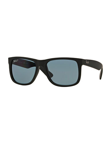 Ray-Ban Justin 54mm Rectangle Sunglasses-BLACK/BLUE (6222V) (POLARIZED)-55 mm