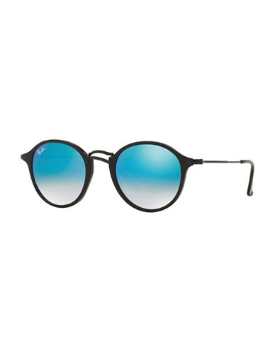 Ray-Ban Round Combo Sunglasses-BLACK WITH BLUE MIRRORED LENSES (9014O)-49 mm
