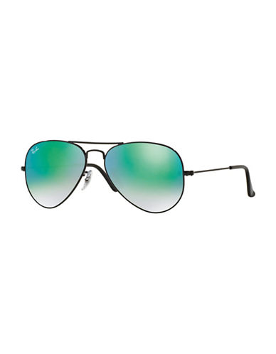 Ray-Ban Original Classic Aviator Sunglasses-BLACK WITH GREEN MIRRORED LENSES (0024J)-62 mm