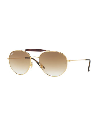 Ray-Ban 53mm Round Aviator Gradient Sunglasses-GOLD/BROWN-56 mm