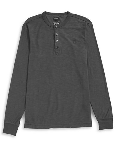 Diesel Long Sleeve Slub Knit Henley-NAVY-X-Large