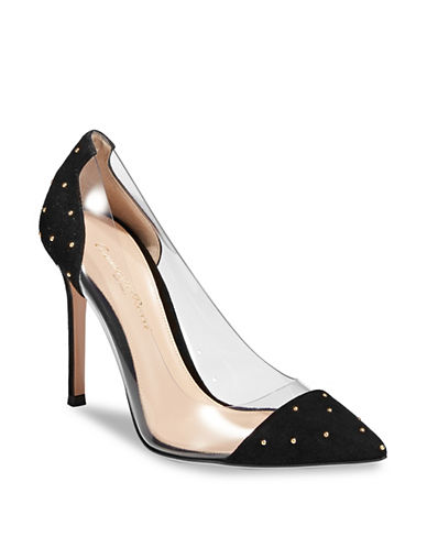 Gianvito Rossi Plexi Suede Studded Pump-BLACK-EUR 38/US 8