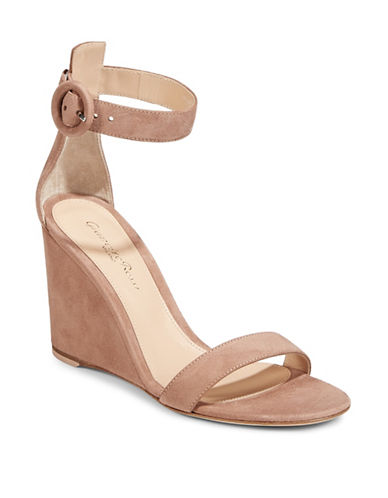 Gianvito Rossi Suede Wedge Sandals-BEIGE-EUR 38/US 8