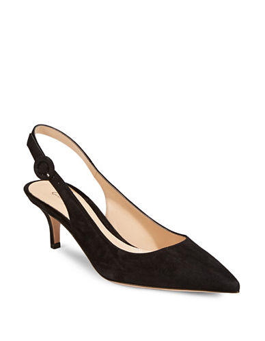 Gianvito Rossi Sling Back Suede Pumps-BLACK-EUR 40/US 10