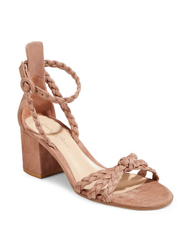 Gianvito Rossi Braided Suede Block Heel Sandals-BEIGE-EUR 39.5/US 9.5