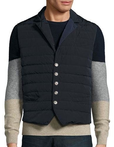 Eleventy Quilted Button Vest-BLUE-X-Large