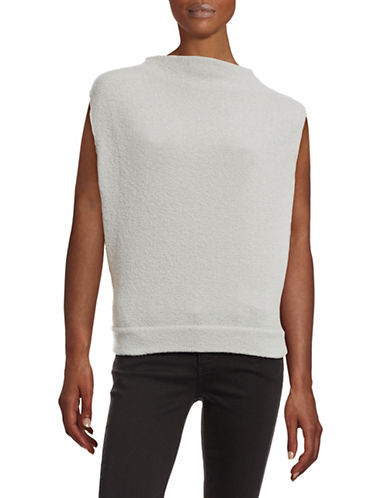 Eleventy Boucle Sleeveless Mock Neck Wool-Blend Top-GREY-X-Small 88465169_GREY_X-Small