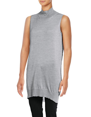 Eleventy Sleeveless Turtleneck Silk Tunic-GREY-X-Small