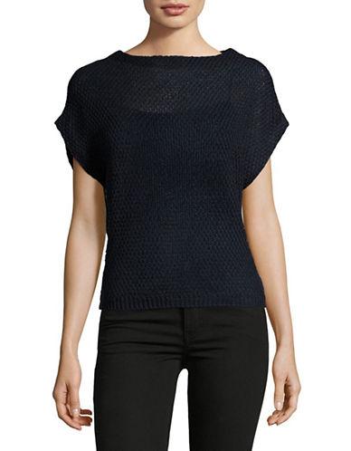 Eleventy Open-Stitch Drop-Shoulder Linen Sweater-BLUE-Small