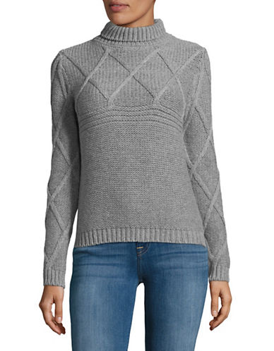 Eleventy Cable Knit Wool-Blend Turtleneck-GREY-Large