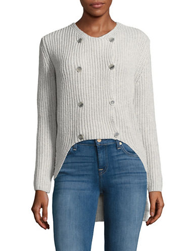Eleventy Hi-Lo Double-Breasted Wool-Blend Sweater-GREY-Large