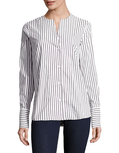 Eleventy Striped Collarless Blouse-BLACK MULTI-EUR 48/US 12