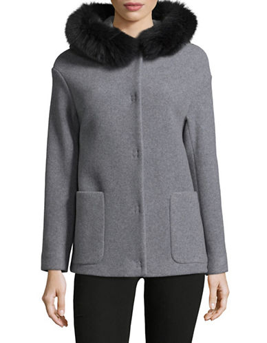 Eleventy Wool-Cashmere Coat with Fox Fur Hood-GREY-EUR 48/US 12