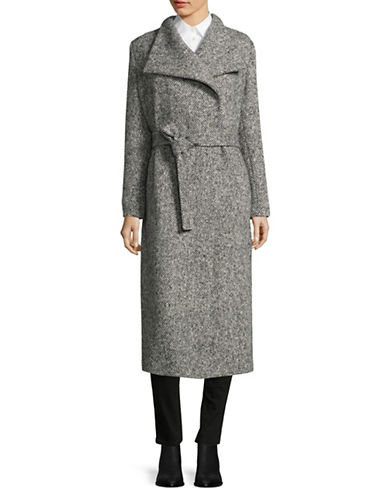 Eleventy Boucle Tweed Long Belted Coat-GREY-EUR 44/US 8
