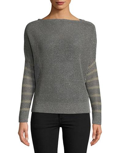 Eleventy Striped Cocoon Sweater-GREY-Medium