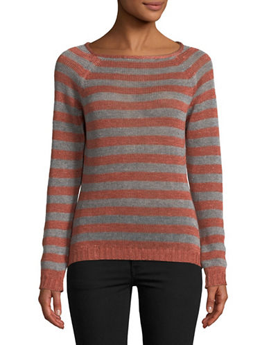 Eleventy Striped Linen Sweater-ORANGE-Large