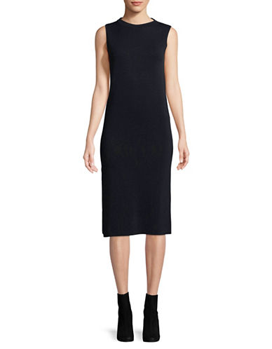 Eleventy Sleeveless Knit Sheath Dress-NAVY BLUE-Medium