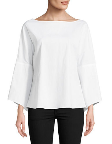 Eleventy Cotton-Blend Blouse-WHITE-EUR 46/US 10