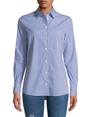 Eleventy Stripe Poplin Blouse-BLUE-EUR 40/US 4