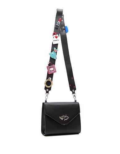 Tua By Braccialini Multi Patch Applique Strap Crossbody Bag-BLACK-One Size