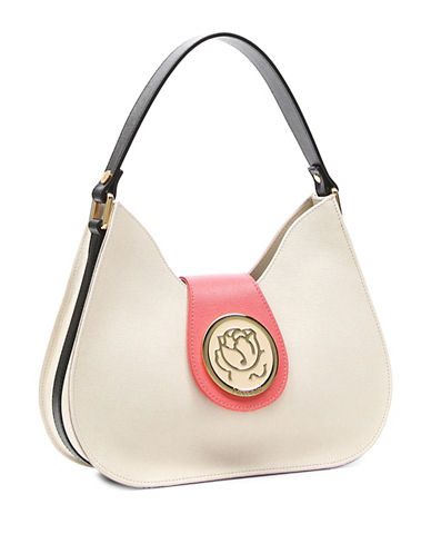 Braccialini Fedrica Leather Hobo Bag-BEIGE-One Size