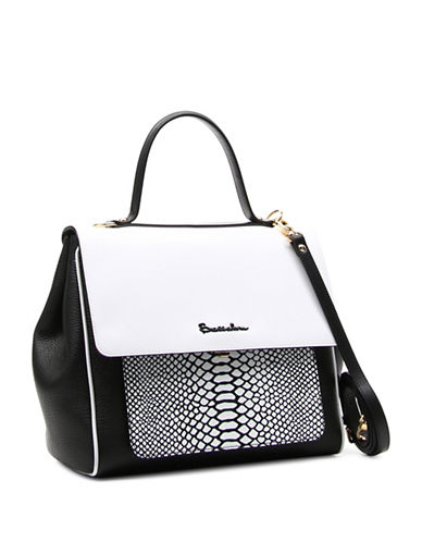 Braccialini Chiara Leather Satchel-WHITE-One Size