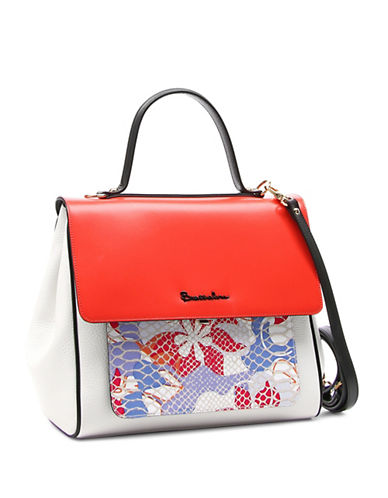 Braccialini Chiara Leather Satchel-RED-One Size