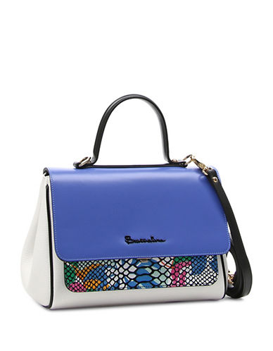 Braccialini Chiara Small Leather Satchel-BLUE-One Size