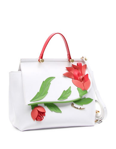 Braccialini Marcella Flower Applique Saffiano Leather Satchel-MULTI-One Size
