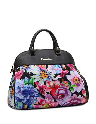 Braccialini Alessandra Floral-Printed Satchel-BLACK MULTI-One Size