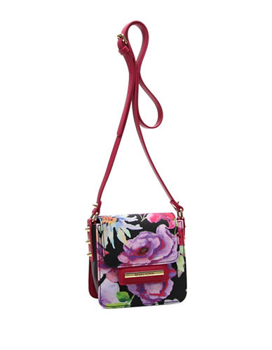 Braccialini Cristina Floral Printed Crossbody Bag-BLACK-One Size