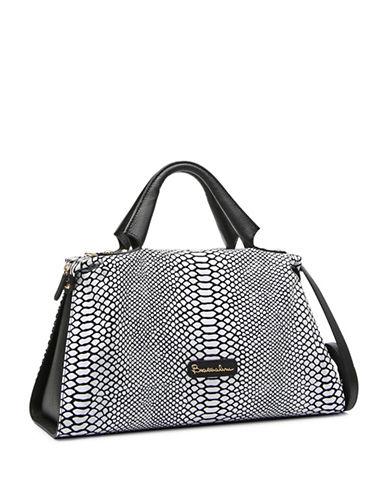 Braccialini Martina Sequins Leather Satchel-BLACK-One Size