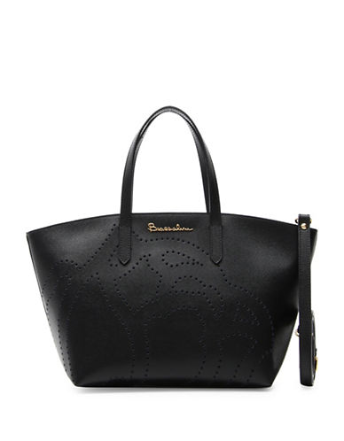 Braccialini New Ninfea Leather Tote-BLACK-One Size