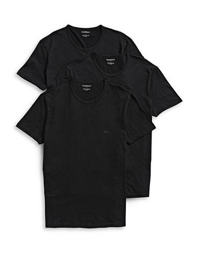Emporio Armani Underwear Three-Pack Cotton Crew Neck Tees-BLACK-Large