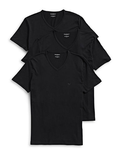 Emporio Armani Underwear Three-Pack Cotton V-Neck Tees-BLACK-Medium