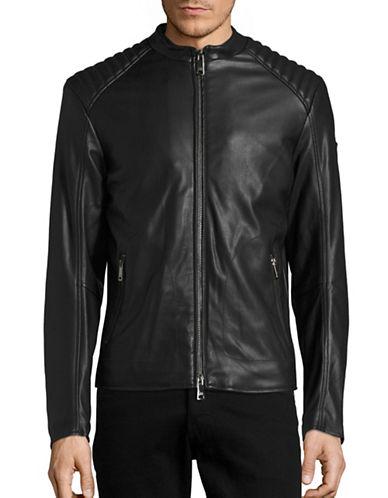 Armani Jeans Faux Leather Moto Jacket-BLACK-X-Small 88457653_BLACK_X-Small
