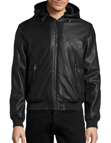 Armani Jeans Hooded Faux Leather Jacket-BLACK-X-Small 88457676_BLACK_X-Small