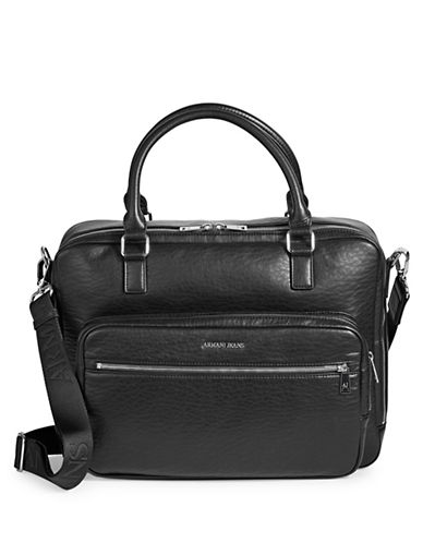 Armani Jeans Zip-Around Faux Leather Messenger Bag-BLACK-One Size