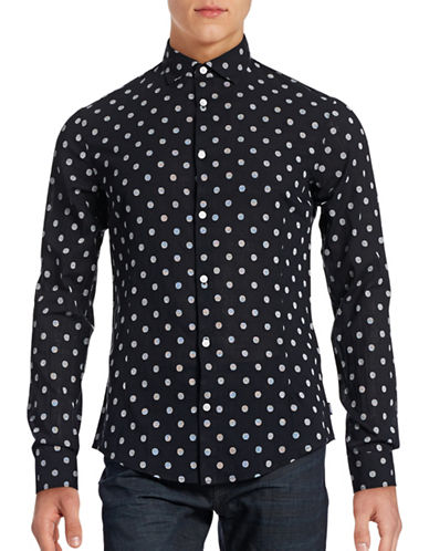 Armani Jeans Textured Dot Sport Shirt-BLACK-Medium 88457714_BLACK_Medium